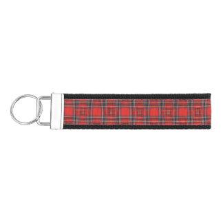 Tartan plaids pattern royal red fabric wrist keychain