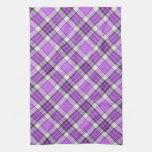 Tartán púrpura y de la lila toallas de mano