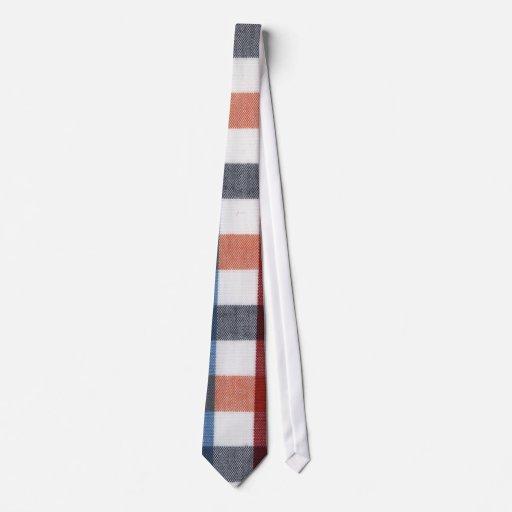 Tartán rojo, azul, blanco y anaranjado corbata personalizada
