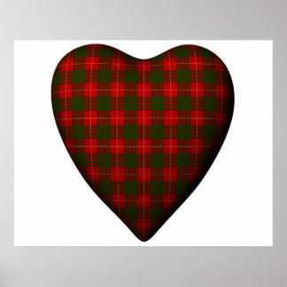 Tartán rojo de Cameron del escocés del corazón de  Poster
