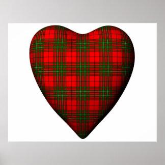 Tartán rojo de Comyn del escocés del corazón de la Poster