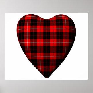 Tartán rojo de Erskine del escocés del corazón de  Posters