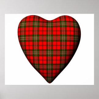 Tartán rojo de Scott del escocés del corazón de la Impresiones