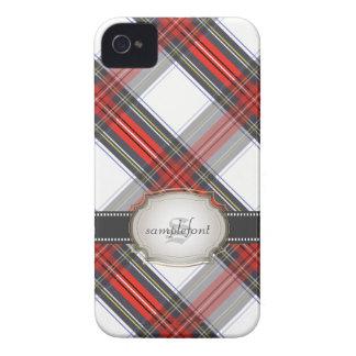 Tartán/rojo de Stewart del clan de PixDezines+gris Case-Mate iPhone 4 Fundas