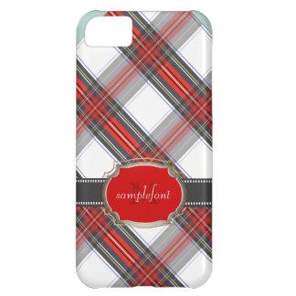 Tartán/rojo de Stewart del clan de PixDezines+gris Funda Para iPhone 5C