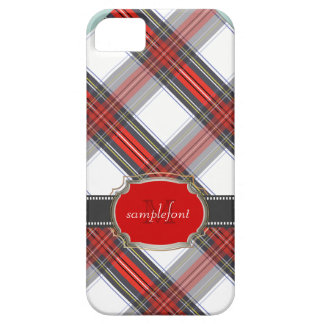 Tartán/rojo de Stewart del clan de PixDezines+gris iPhone 5 Carcasas