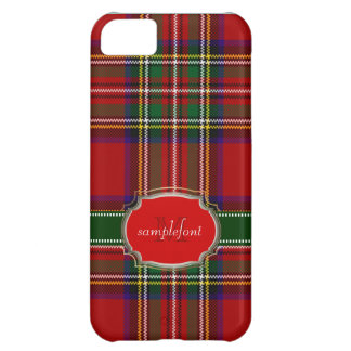 Tartán/rojo de Stewart del clan de PixDezines+verd Funda Para iPhone 5C