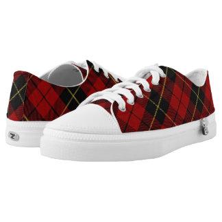 Tartán rojo de Wallace del clan escocés y negro Zapatillas