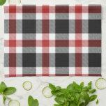 Tartán rojo y negro toalla de cocina