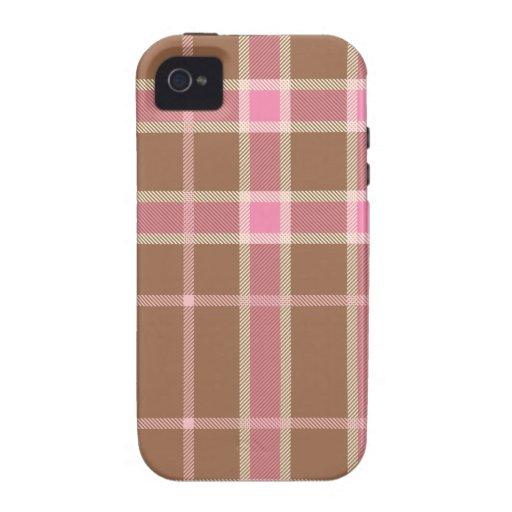 Tartán rosado, marrón y beige iPhone 4 carcasa