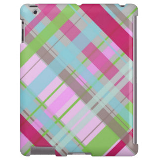 Tartán rosado y verde con el fondo gris funda para iPad