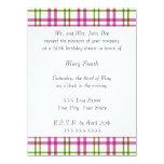 Tartán rosado y verde invitación 13,9 x 19,0 cm