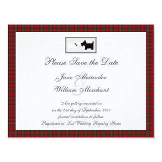 Tartan Save the Date Announcement with Scottie Dog
