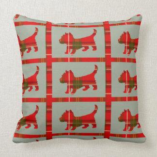 Tartan Scottie Puppy Throw Pillow