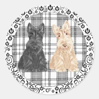 Tartan Scotties Classic Round Sticker