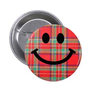 Tartan Scottish Smiley Button