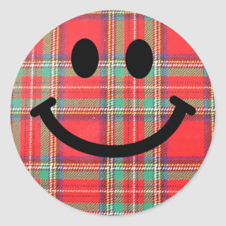 Tartan Scottish Smiley Classic Round Sticker