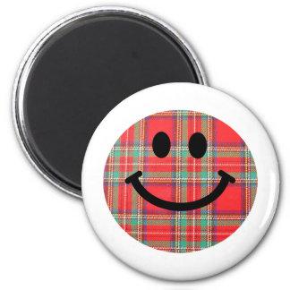Tartan Scottish Smiley Refrigerator Magnet