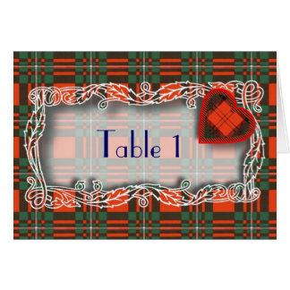 Tartan Table number card - Macgregor
