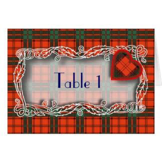 Tartan Table number card - Maxwell