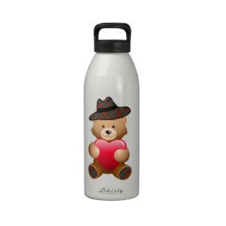 Tartan Teddy Bear Design Drinking Bottle