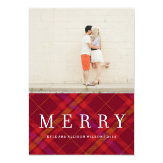 Tartan Tidings Merry Plaid Gingham Holiday Card