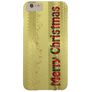 Tartan Typography - Merry Christmas - Gold Foil Barely There iPhone 6 Plus Case