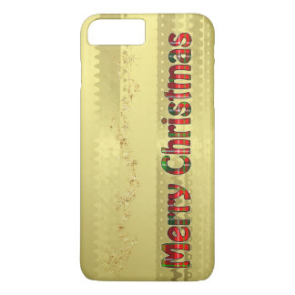 Tartan Typography - Merry Christmas - Gold Foil iPhone 8 Plus/7 Plus Case