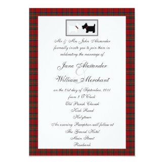 Tartan Wedding Invitation with Scottie Dogs