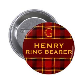 Tartan Wedding Party Ring Bearer Pinback Button