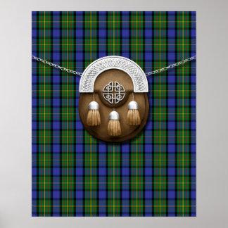 Tartán y escarcela de los montañeses de Escocia de Poster