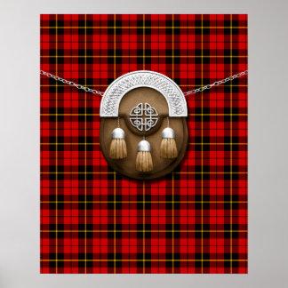 Tartán y escarcela de los montañeses de Escocia de Póster