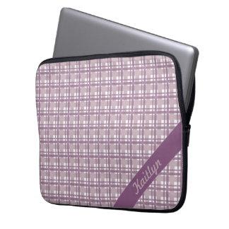 Tartanpattern púrpura en colores pastel con el mangas portátiles