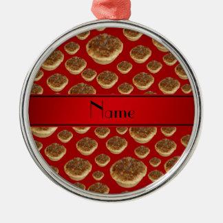 Tartas rojas conocidas personalizadas de la manteq ornamentos de navidad