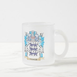 Tasker Coat of Arms - Family Crest 10 Oz Frosted Glass Coffee Mug