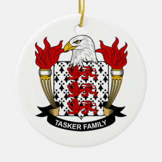 Tasker Family Crest Double-Sided Ceramic Round Christmas Ornament