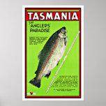 Tasmania Australia Anglers Paradise Fishing Poster