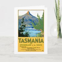 Tasmania Vintage Travel Poster Restored Holiday Card