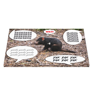 Tasmanian Devil Thought Speech Bubble Blah Yak Etc Gallery Wrapped Canvas