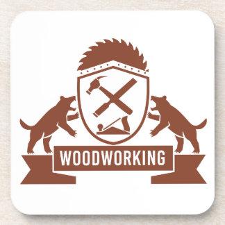 Tasmanian Devil Woodworking Crest Retro Coaster