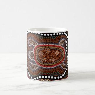 tasse con schildkröte en stil aborigines taza de café
