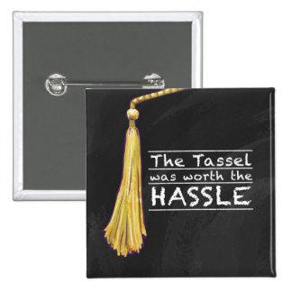 Tassel Hassle Silver 2 Inch Square Button