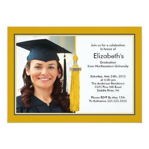 Tassel Photo Graduation Invitation Gold & White