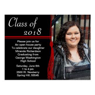 Tassel Red & Black Graduation Party Announcement Postcard