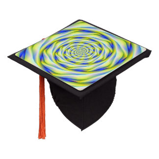 Tassel Topper  Vortex in Blue and Yellow