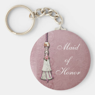 Tasseled Rose Dreams Basic Round Button Keychain