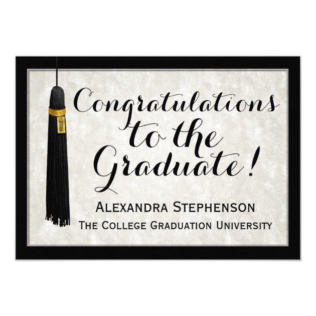 Tassle Congratulations Graduate College Graduation 5x7 Paper Invitation Card