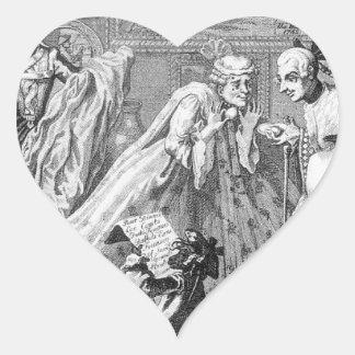 Taste in High Life by William Hogarth Heart Sticker