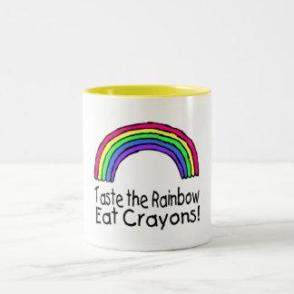Taste The Rainbow Eat Crayons Two-Tone Coffee Mug