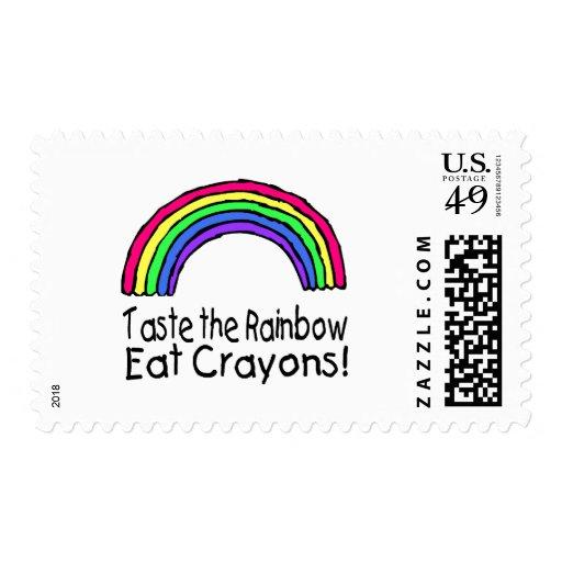 Taste The Rainbow Eat Crayons Postage Stamp